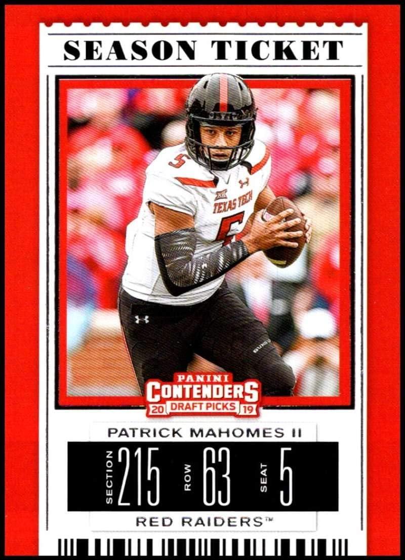Amazon Com 2019 Panini Contenders Draft Season Ticket 79 Patrick Mahomes Ii Texas Tech Red Raiders Ncaa Football Trading Card Collectibles Fine Art