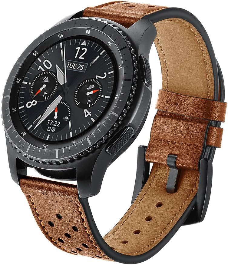 SUNDAREE Compatible con Correa Galaxy Watch 46MM/Gear s3 Frontier/Classic,22mm Piel Genuina Reemplazo Banda Pulseras de Repuesto Correa de Smartwatch para Samsung Galaxy Watch 46/Gear S3(Marron-D): Amazon.es: Electrónica