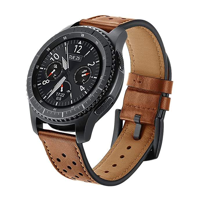 SUNDAREE Compatible con Correa Galaxy Watch 46MM/Gear s3 Frontier/Classic,22mm Piel Genuina Reemplazo Banda Pulseras de Repuesto Correa de Smartwatch ...