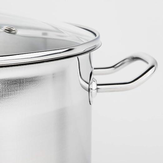 8,2 L Suppentopf Induktions-Universaltopf Edelstahl-Kochtopf Topf Glasdeckel NEU