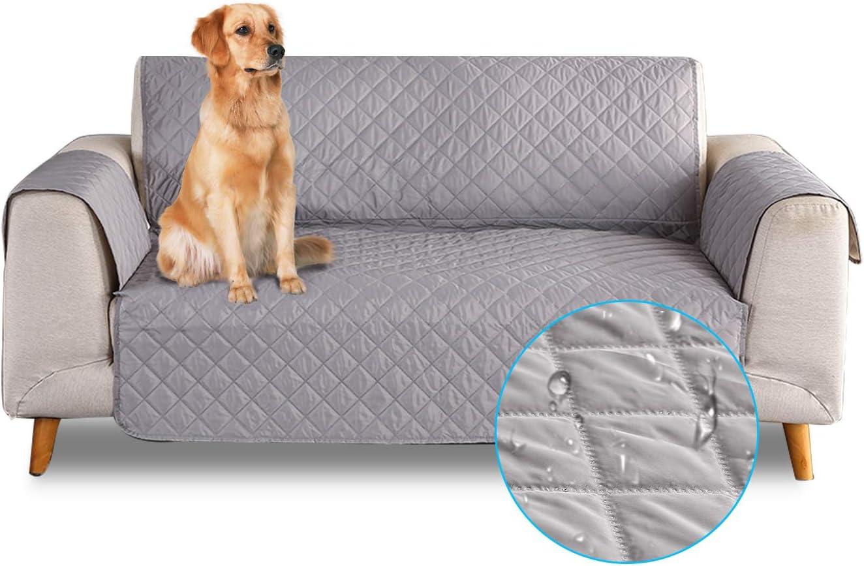 PETCUTE Funda de sofá 3 plazas Cubre Sofas Impermeable Protector de sofá Antideslizante Acolchado Sofas Fundas para Perros Gris