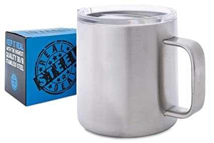816dfe1e5ff 16 oz Stainless Steel Mug: Double Walled Metal Camping Mug with Lid -  Vacuum Insulated