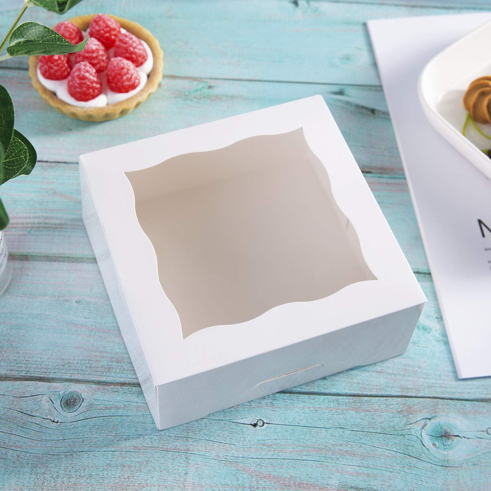 ONE MORE 6''White Bakery Boxes with pvc Window for Pie and Cookies Boxes Small Natural Craft Paper Box 6x6x2.5inch,12 of Pack by ONE MORE (Image #6)