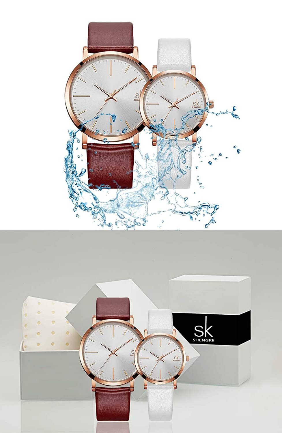 3a1029ab4c5c Amazon.com  SK SHENGKE Couple Watches Anniversary Gifts for Lover Set of 2  Pairs Sweet Gifts for Valentines. (K8039-Brown-White)  Watches