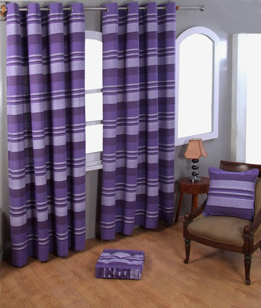 Homescapes Mauve Purple Lilac Eyelet Curtain Pair 167cm 66 Wide X 228cm 90 Drop Morocco Stripe Design Ring Top Amazoncouk Kitchen