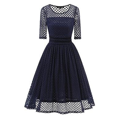 Kleid der Frau Damen Kleider Sophisticated Lace Skater Kleid Feste Farbige Party  Hochzeit Abendempfang Tägliches Tragen 5852f1ccae