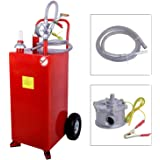 SUNCOO 30 Gallon Gas Caddy with Pump, Heavy Duty Portable Fuel Tank with Wheels, Diesel Kerosene Storage Containers for Boat, ATV, Car, Mower and Generators, Red