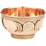 "New Age Imports, Inc. bo, Triple Moon Pentacle Copper 3"", for Altar, Ritual use, Incense Burner, smudging, Decoration…"