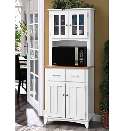 Amazon.com   Home Source Industries Brook Tall Microwave Cabinet With  2 Drawer And An Upper And Lower Cabinet, White With Cherry Wood Finish    Kitchen ...