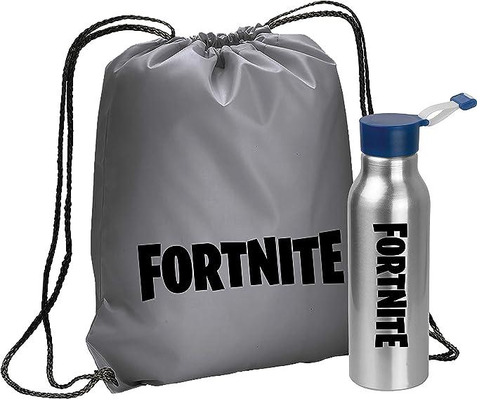 Imagen deGiano Srl FORTNITE Bolsa deportiva con cordón + botella de agua de acero sin BPA – 600 ml con cierre hermético | Adecuado para deportes, guardería, escuela, niños | Fortnite