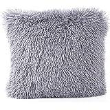 Faux Fur Pillow Cover, FabricMCC Decorative Super Soft Plush Mongolian Faux Fur Throw Pillow Cover Cushion Case (grey)