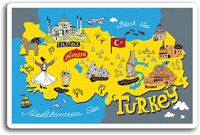 Destinationvinyl 2 X 10 Cm Fun Turkei Istanbul Karte Vinyl