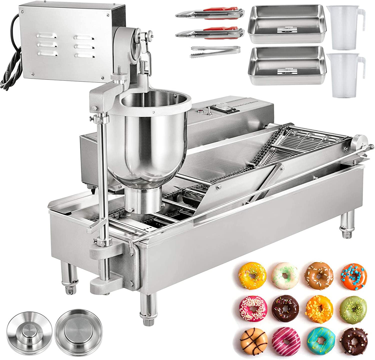 VBENLEM Commercial Automatic Donut Making Machine, 2 Rows Auto Doughnut Maker, 7L Hopper Donut Maker with 3 Sizes Molds, 110V Doughnut Fryer, 304 Stainless Steel Auto Donuts