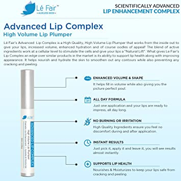 Brillo de labios para un gran aumento de volumen - Complejo labial avanzado Lé Fair - Aumento espectacular de los labios sin inyecciones ni cirugía ...