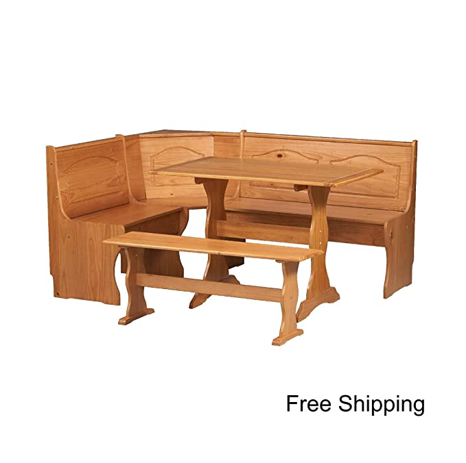 b68088cc327 Amazon.com - Essential Home Emily Breakfast Nook Kitchen Nook Solid Wood  Corner Dining Breakfast Set Table Bench Chair Booth - Table   Chair Sets