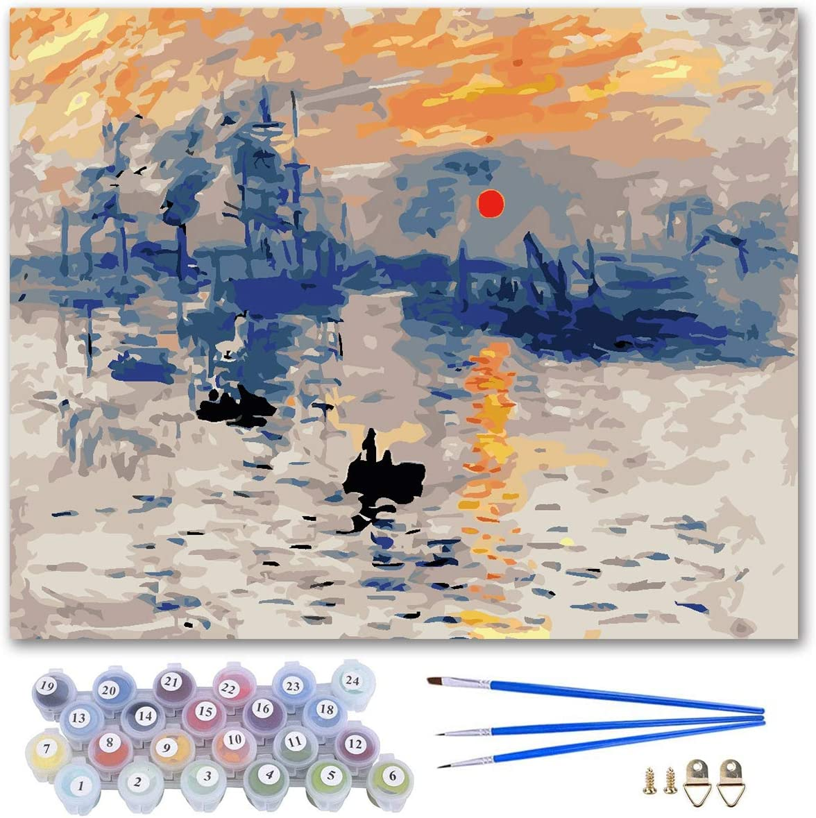 DIY Oil Painting by Numbers Colorful Canvas Drawing Paintwork Kits Gift Arts Craft for Home Office Wall Decoration-16x20inch, Unframed (Monet Sunrise Impression)