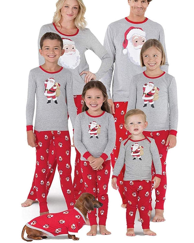 Family Matching Christmas Pajamas PJs Sets Santa Claus Print Sleepwear Kids  Adult Nightwear Homewear bb7757f83