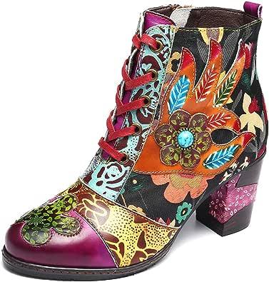 gracosy Ankelstövlar kvinnor platta läderstövlar nytt tryck retro växt bohemiskt handgjort mönster snörning låg blockklack vinter höst sida dragkedja skor damer utomhus rund tå skor