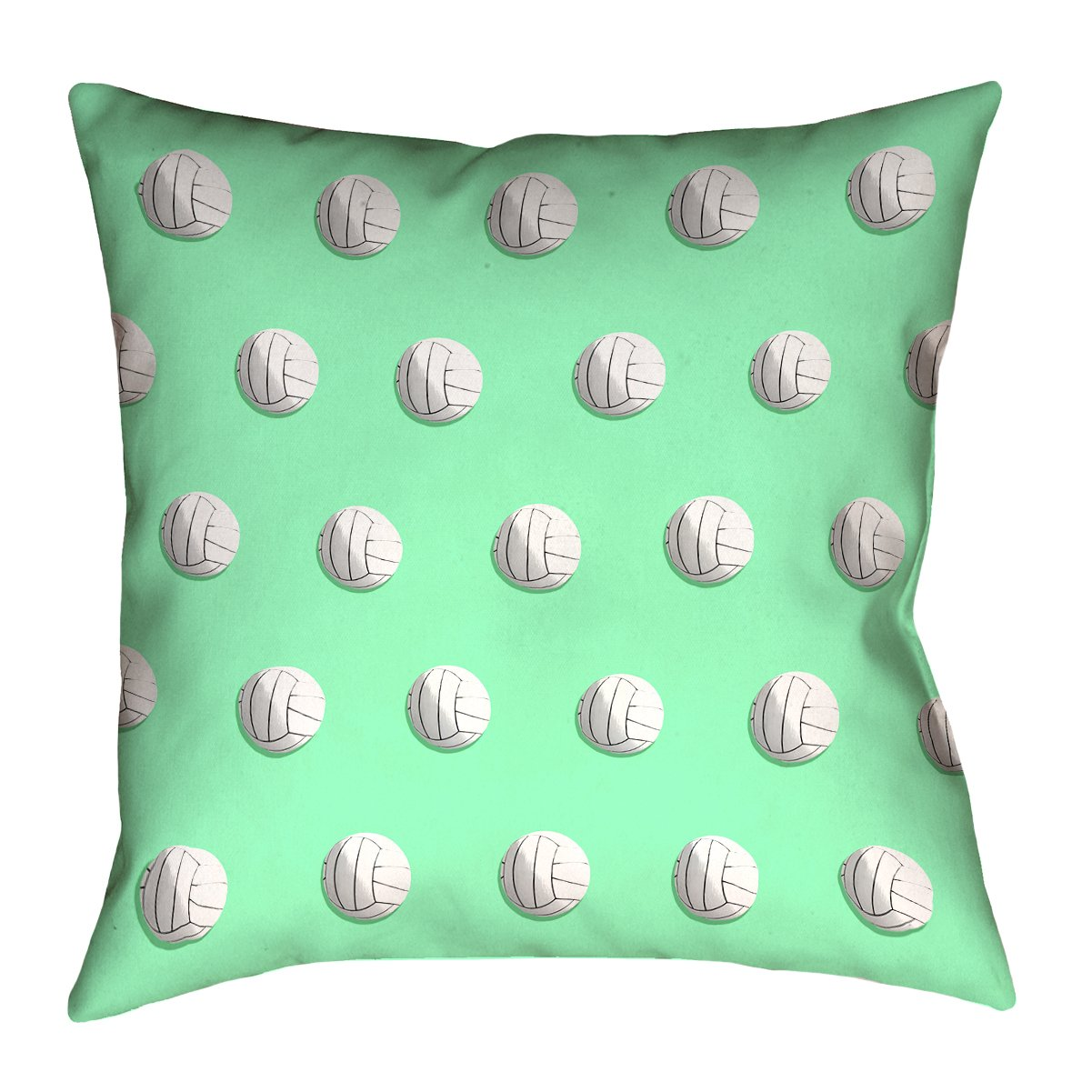 ArtVerse Katelyn Smith 26 x 26 Cotton Twill Double Sided Print with Concealed Zipper /& Insert Green Volleyball Pillow