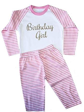 bebd6cee40 Little Secrets Childrens Clothing Birthday Girl Pink and White Striped  Pyjama Set Sleepwear (6-