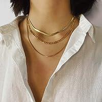 Zoestar Collar punk, collar con capas de hueso de serpiente, gargantilla de cadena corta, minimalista, joyería para…