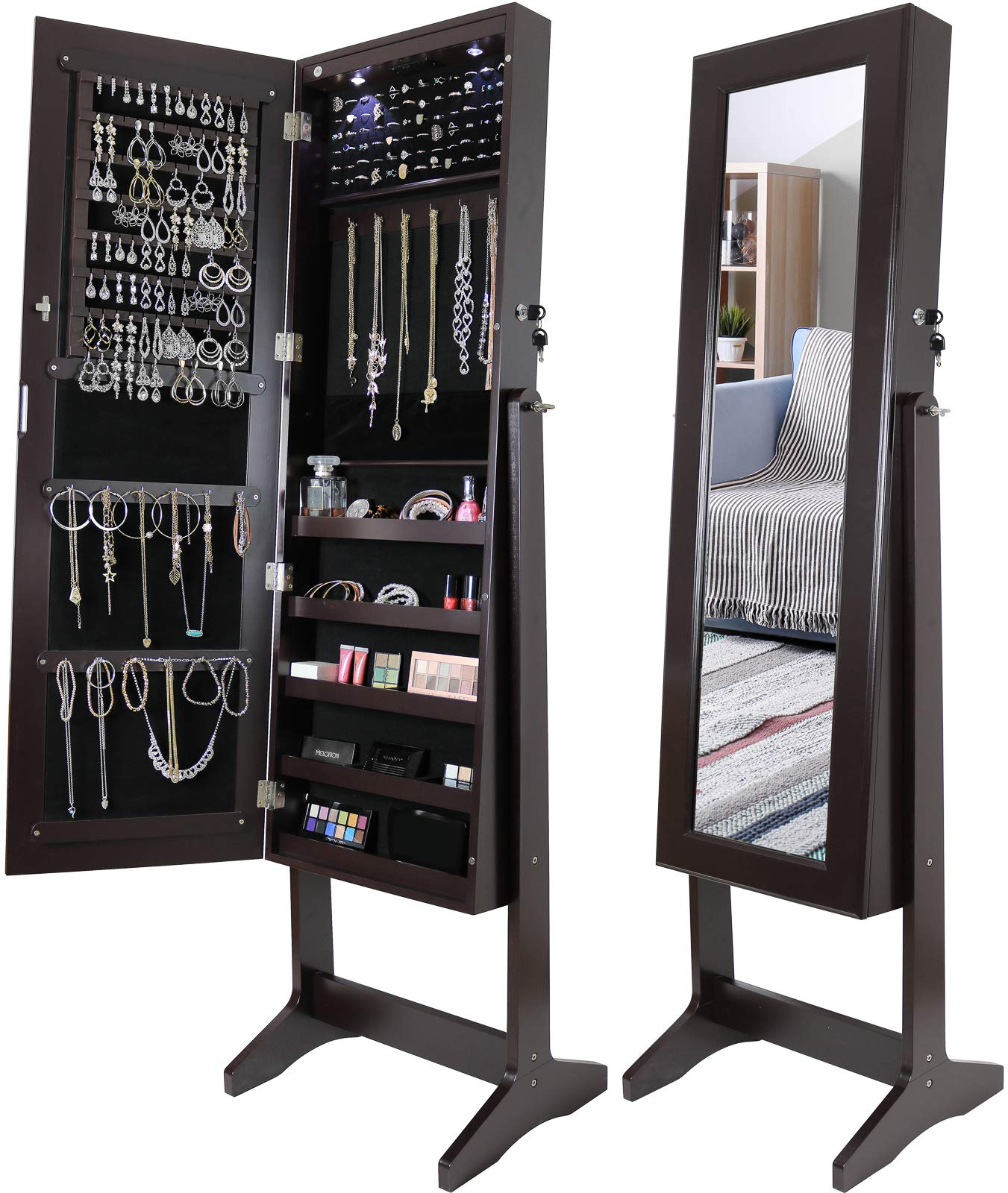 Greenco Free Standing Jewelry Organizer Armoire with Large Mirror and Led Lights, Lockable Espresso