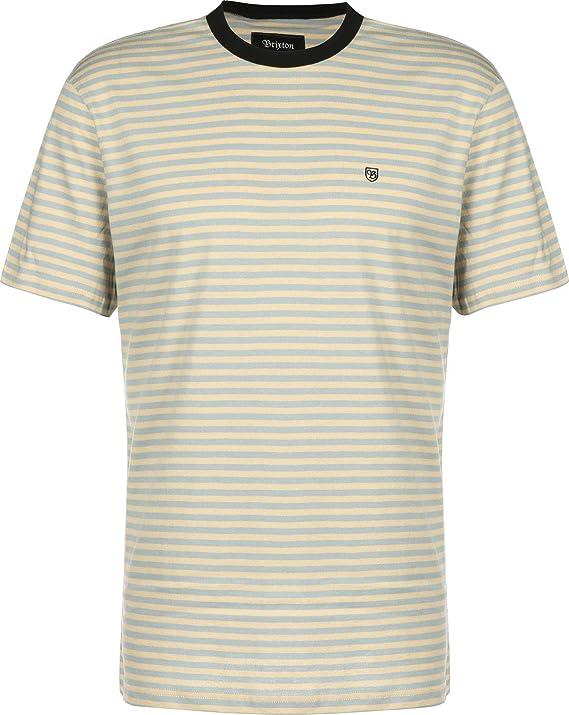 BRIXTON - Camiseta para Hombre S/S Knit Pablo Parchment, diseño a Rayas, Color Amarillo y Azul, Talla M: Amazon.es: Deportes y aire libre
