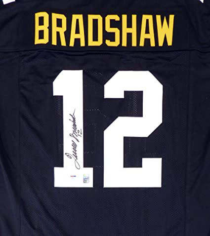765727ba9 PITTSBURGH STEELERS TERRY BRADSHAW AUTOGRAPHED BLACK JERSEY quot  12 quot   ...