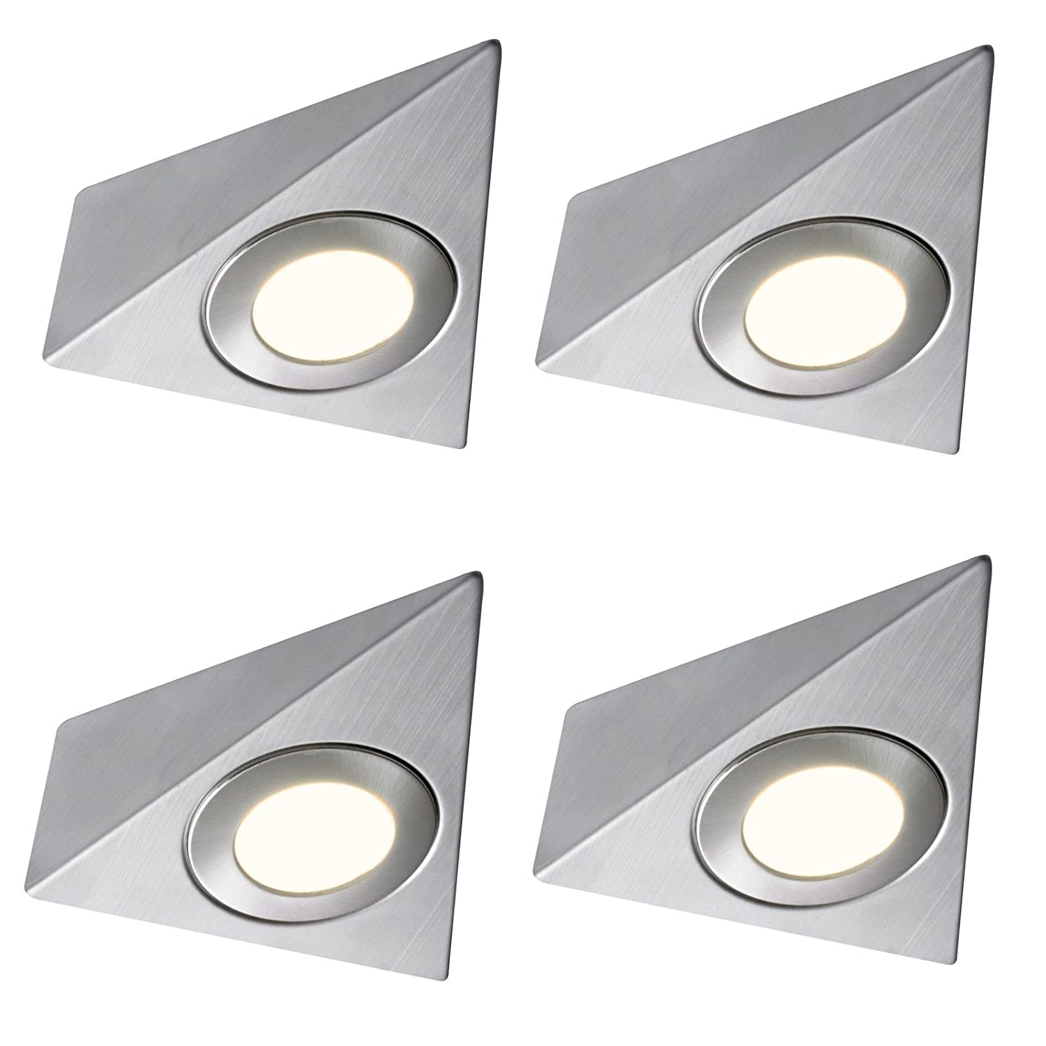 4 X LED TRIANGLE LIGHT MAINS KITCHEN UNDER UNIT CABINET CUPBOARD WARM WHITE Lighting Innovations