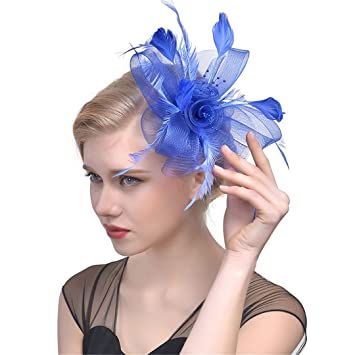5381580ff1e3b Feather Fascinator Hat Clips Women Fancy Black Birdcage Veil Wedding Hats  Hair Accessories Headband Hat Lady