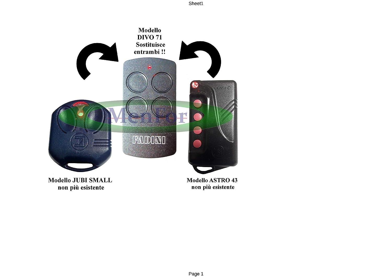 Fadini T/él/écommande Divo 71 433/MHz pour portail
