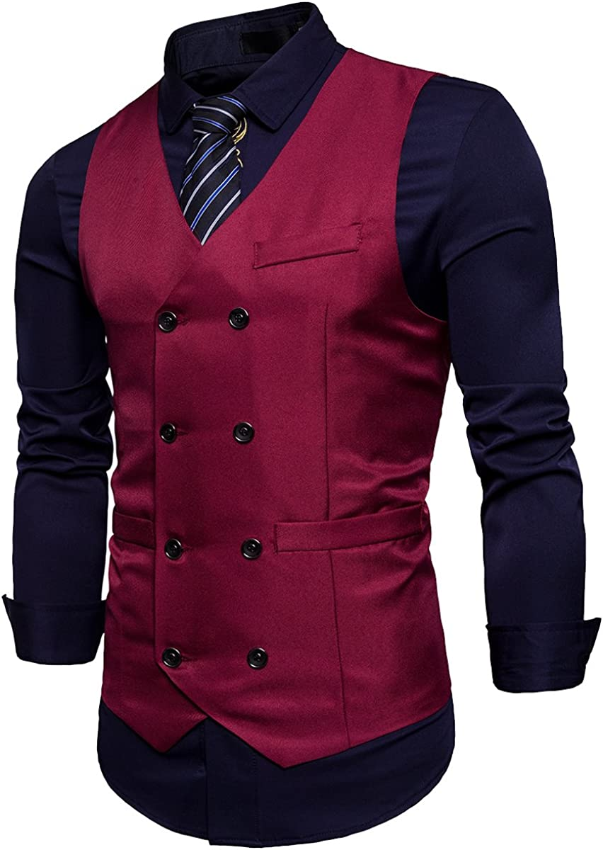 Cottory Mens Classic Double Breasted Slim Fit Waistcoat Vest Dress