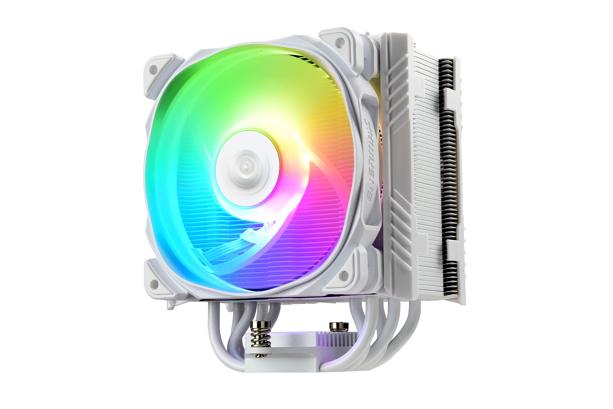 Enermax ETS-T50 Axe Addressable RGB CPU Air Cooler 230W+ TDP for Intel/AMD Univeral Socket 5 Direct Contact Heat Pipes 120mm PWM Fan White: ETS-T50A-W-ARGB by Enermax
