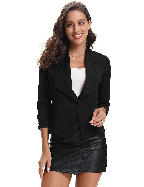Abollria Blazer Donna Elegante a Manica di 3/4 Lunghezza Tailleur Classico per Ufficio Donna Giacca per Primavera Autunno Inverno