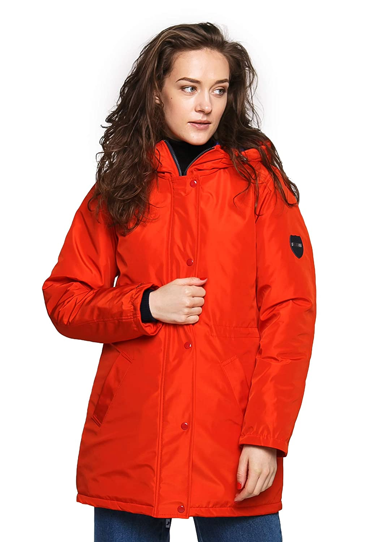 orange DASTI Women's Rain Parka Coats Jacket for Womens Hood Parkas Iconic
