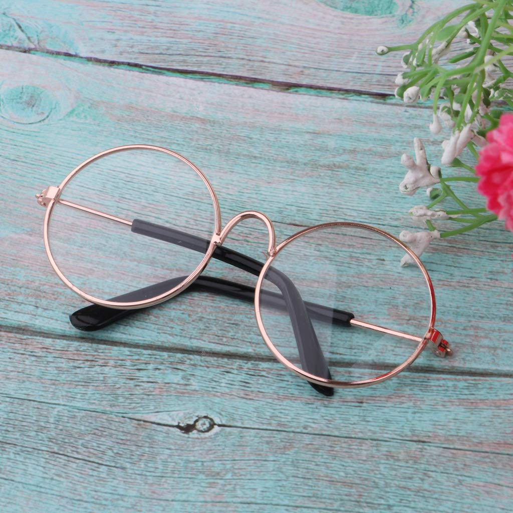 f492ae591d Amazon.com  Fityle 1 4 Scale Doll Round Golden Frame Eyeglasses Sunglasses  for Blythe Dolls Charms Fashion Accessory  Toys   Games
