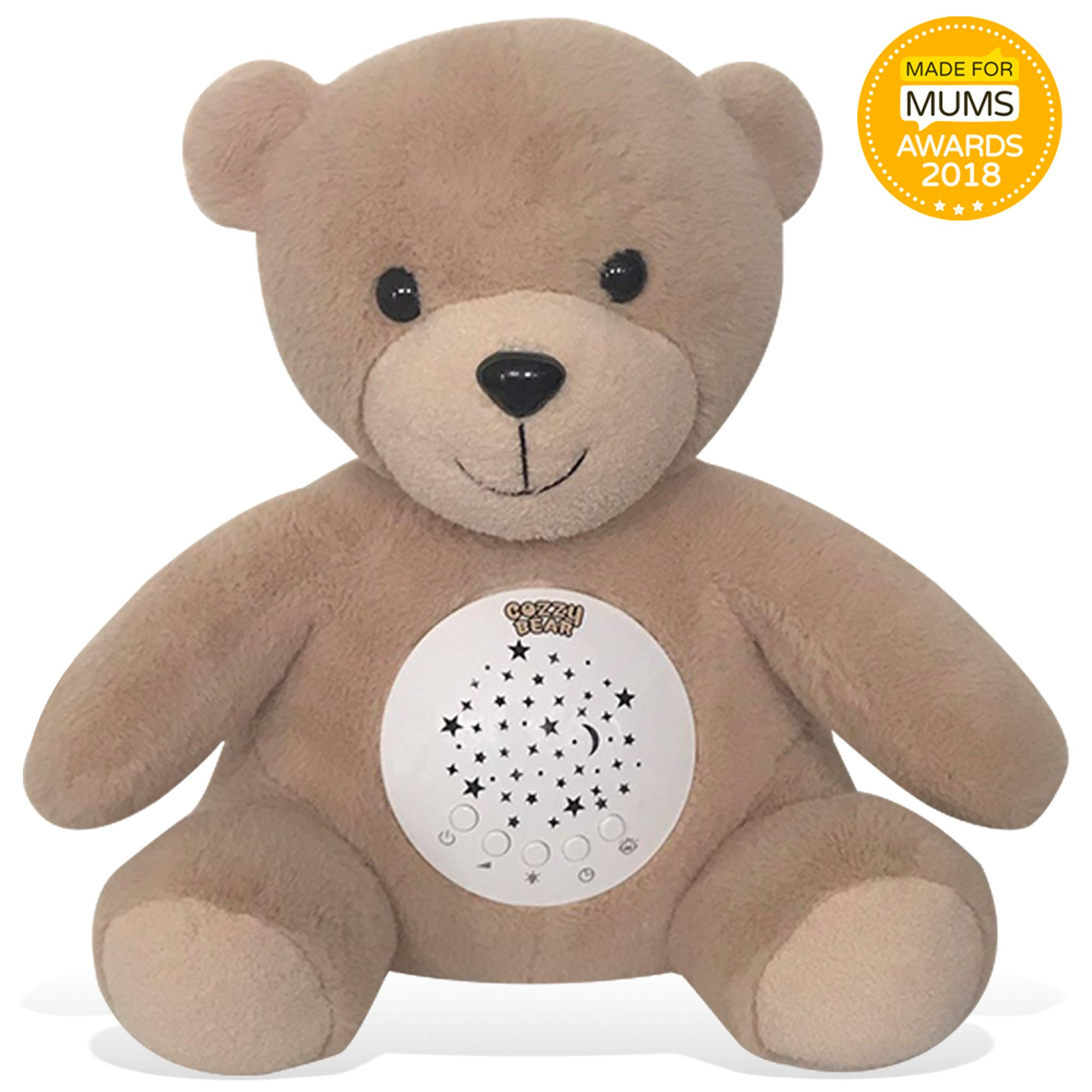 Cozzy Bear Sleep Soother | Baby White Noise & Lullaby Sound Machine | Rotating Colors Star Projector | Cry Sensor | USB Rechargeable Sleeping & Calming Aid | 2019 Best Registry for Baby Shower Gift by InfantBay