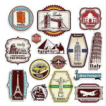 supertogether retro vintage travel suitcase stickers set of 15