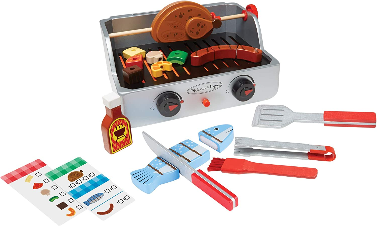Melissa & Doug 19269 Rotisserie & Grill Barbecue Set | Pretend Play | Wooden Food | 3+ | Gift for Boy or Girl