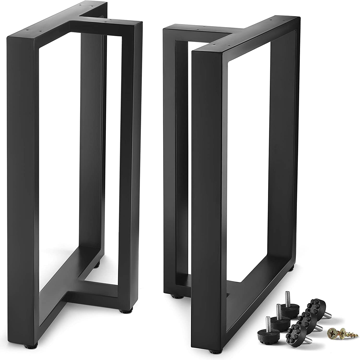 """CRIZTA Metal Table Legs 28 inch Height 17.7"""" Wide, Set of 2, Rustic Heavy Duty Leg for Dining Furniture, Wood Coffee Bench Tables and Desk - Black Powder Coated (Black)"""