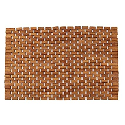 Amazon.com: Teak Bath Floor Shower Mat - Solid OR Foldable - Indoor ...