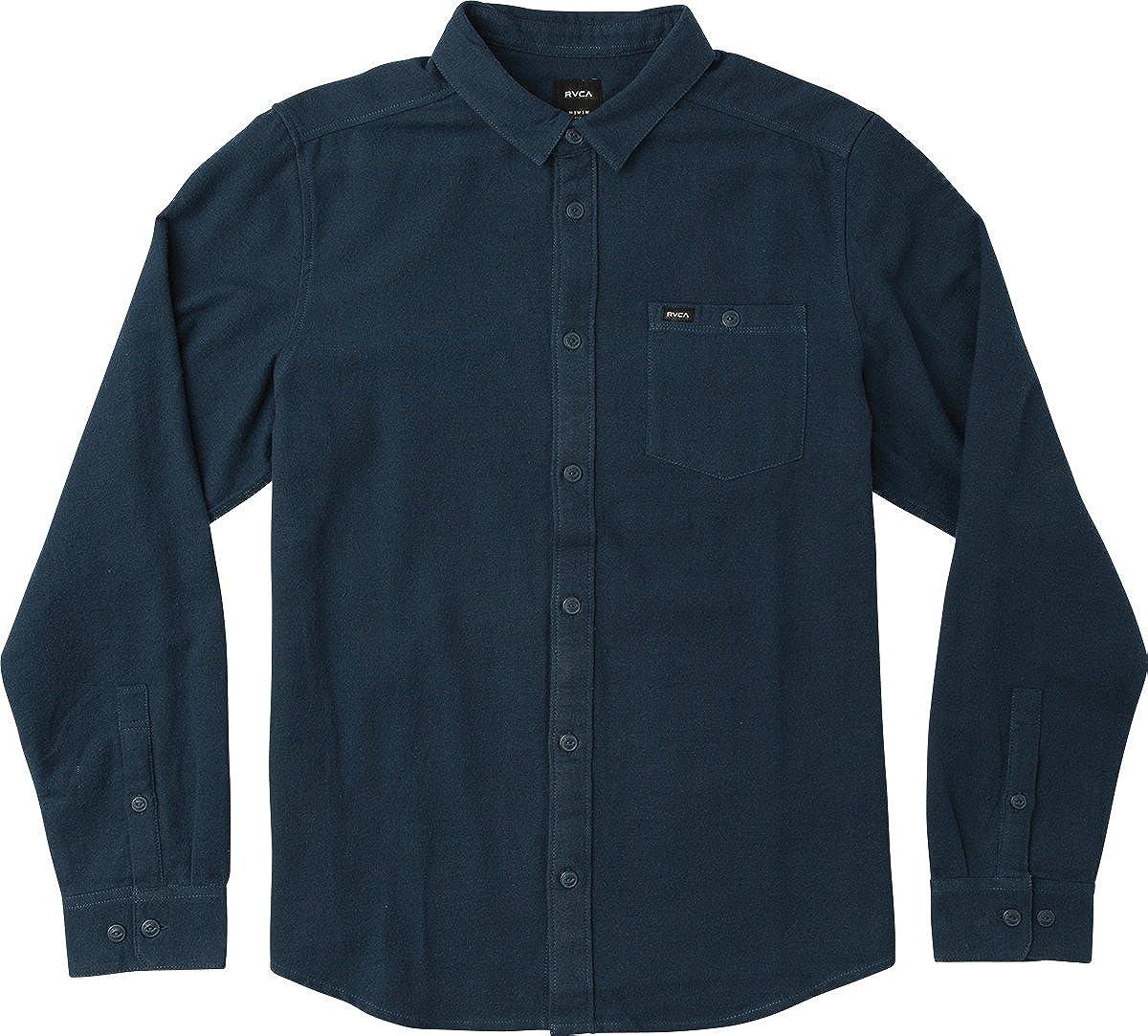 RVCA Mens Public Works Long Sleeve Woven Button Up Shirt