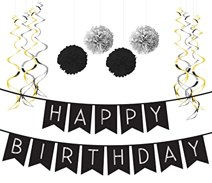 Birthday Party Pack Black Silver Happy Bunting Poms
