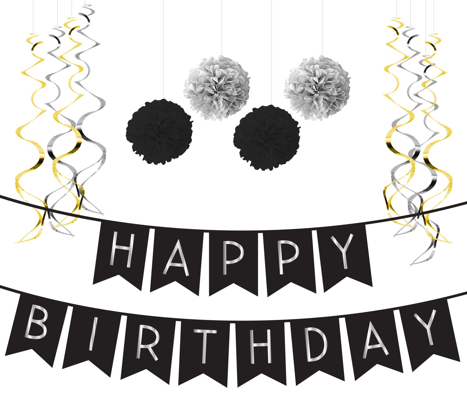 Birthday Party Pack Black Silver Happy Bunting Poms And Swirls Decorations
