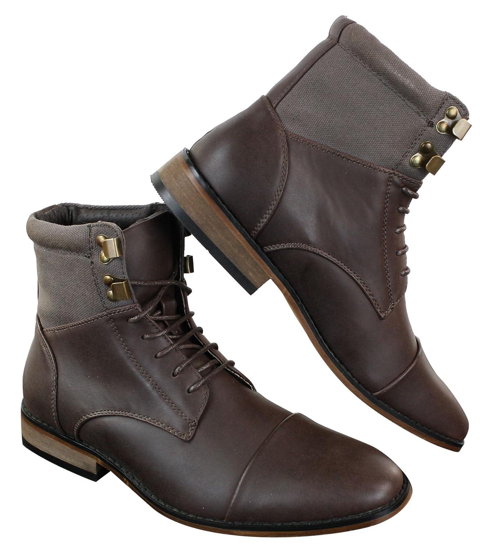 ffab8c44051b6 Bottines homme sérrées vintage rétro style Sherlock avec lacets chic  décontracté simili et cuir  Amazon.fr  Chaussures et Sacs
