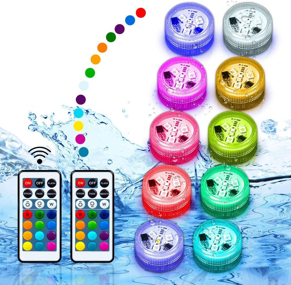 Pool Lights Submerible LED Lights Floating Hot Tub Swimming Pool Accessories Above Ground & Underwater RGB Light Remote Control Button Batteries Powered Holidays Party Decor for Pond,Fountain(10Pack)