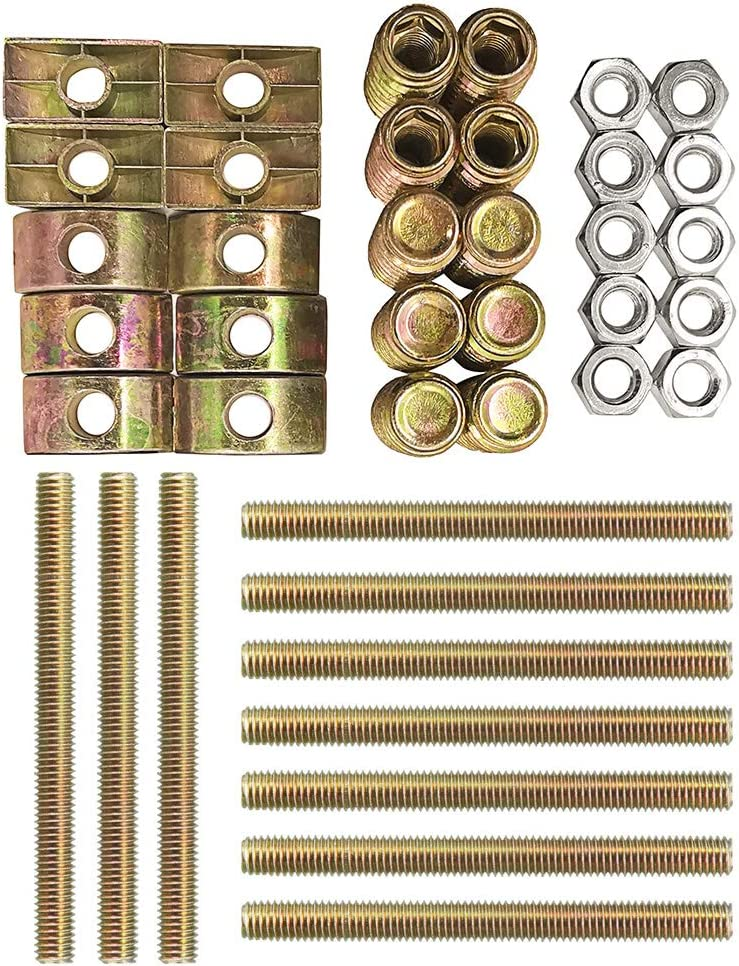 goodbabycare 10 Sets Bed Rail Connection System,Furniture Hardware Zinc Plated Half-Moon Nut Connecting Fitting Bronze Tone,Wardrobe Four-in-one Connectors Fittings