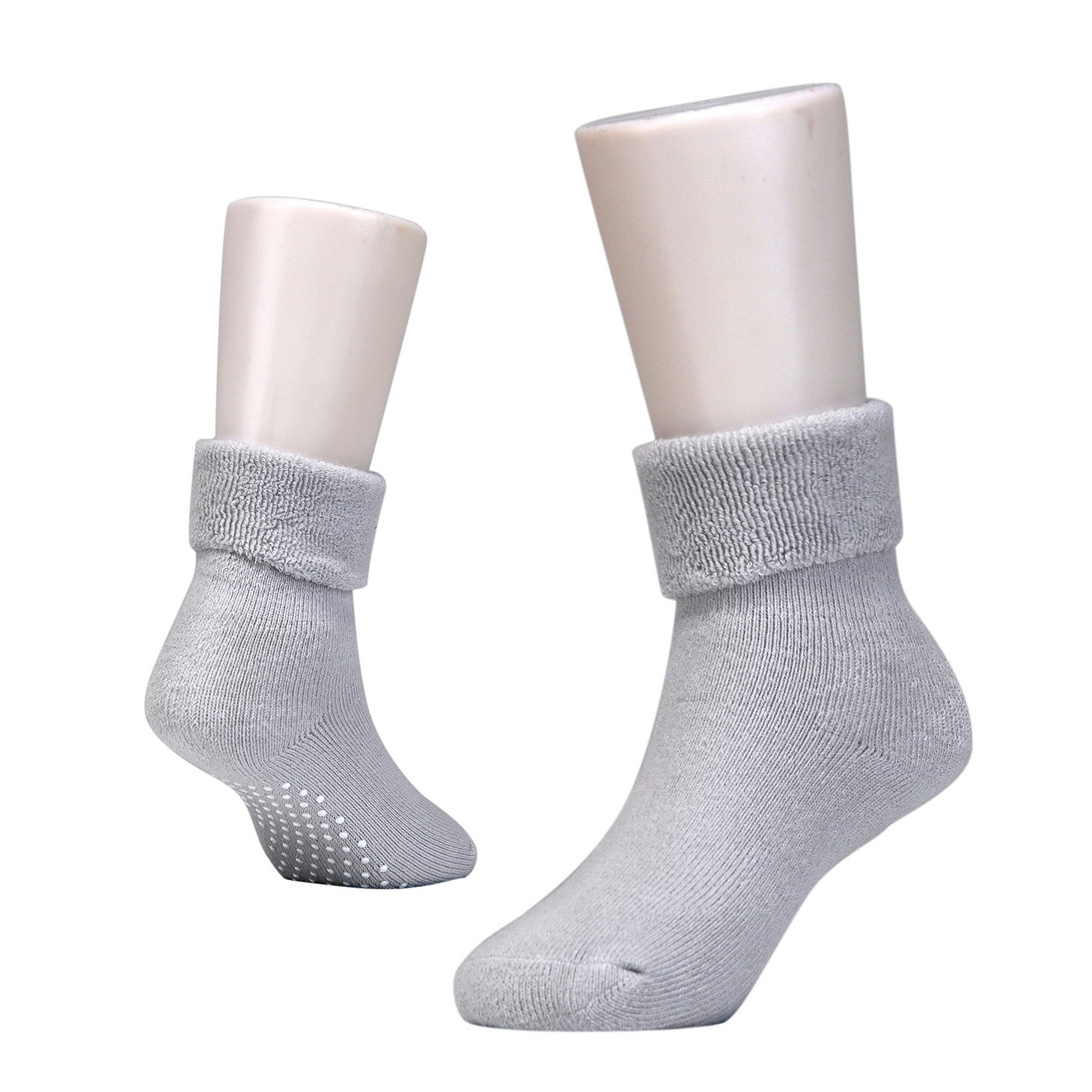 Epeius Baby Boys Non-Skid Turn Cuff Socks Terry Cotton Booties Pack of 6