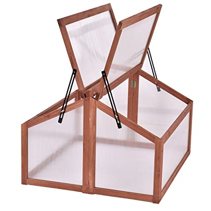 Amazon.com : Wooden Green House Double Box Cold Frame Raised Plants ...