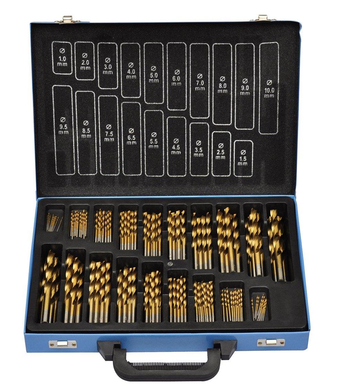VidaXL 140172 Set of 170 HSS R Drill Bits with Metal Transportation Case